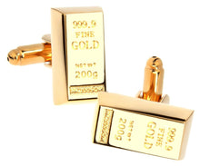 Gold Bullion Bar Cuff Links (Gold Plated) Mens Gift By CUFFLINKS DIRECT