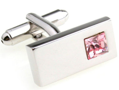 Beautiful Pink Crystal Design Mens Wedding Gift Cuff links by CUFFLINKS DIRECT