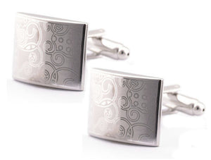 Men Business Shirt Silver Cufflinks Rectangle Wedding Cuff Links Stainless Steel
