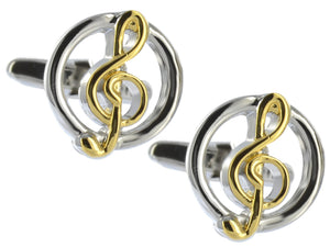 Silver and Gold Sheet Music Treble G Clef Mens Gift Cuff links by CUFFLINKS DIRECT