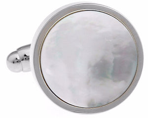 Silver Mother of Pearl Shell Circular Mens Wedding Gift Cuff links by CUFFLINKS DIRECT