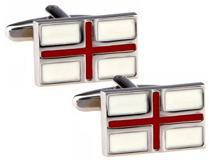 England English St George Red and White Flag Mens Birthday Gift Cuff links by CUFFLINKS DIRECT