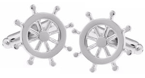 Nautical Silver Helm Wheel Boat Ship Sailing Wedding Gift by CUFFLINKS DIRECT