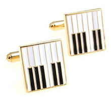 Black and White Piano Keys in Gold Plate Mens Gift Cufflinks by CUFFLINKS.DIRECT