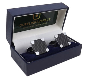 Silver With Black Carbon Fibre Statement Men Gift Cuff Links by CUFFLINKS.DIRECT