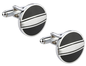 Silver and Black Enamel Mens Gift french double Cuff links by CUFFLINKS.DIRECT