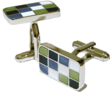 Office Hard Wearing Modern Rectangle Multi colour Cuff links by CUFFLINKS DIRECT