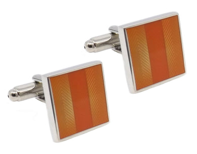 Modern Orange Square Enamel Mens Groom Wedding Gift Cufflinks - CUFFLINKS DIRECT