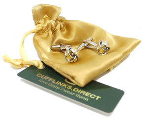Gold and Silver Mens Love Knot Wedding Gift Cuff links by CUFFLINKS DIRECT
