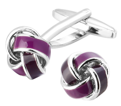 Purple Mens Love Knot Wedding Gift Cuff links by CUFFLINKS DIRECT
