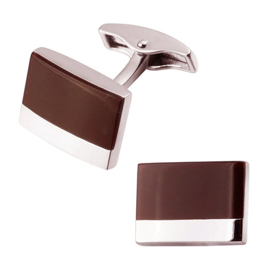 Silver & Mahogany Dark Red Enamel Mens Gift Wedding Cuff Links CUFFLINKS DIRECT