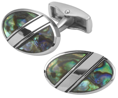 Multi Coloured Abalone Shell Oval Mens Cufflinks in bag or box CUFFLINKS.DIRECT