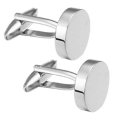 Simple Plain Round Brushed Silver Mens Gift Cuff Links  By CUFFLINKS DIRECT