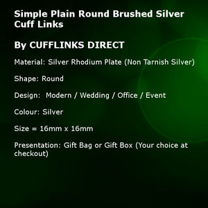 Simple Plain Round Polished Silver Mens Gift Cuff Links  By CUFFLINKS DIRECT