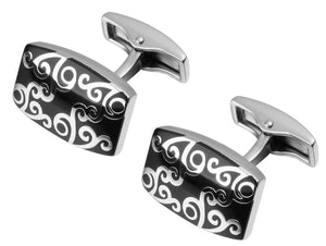 Elegant & Beautiful Hard wearing Silver & Black Enamel links by CUFFLINKS DIRECT