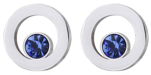 Modern Silver Circle Blue Crystal Mens Wedding Gift Cuff links CUFFLINKS DIRECT