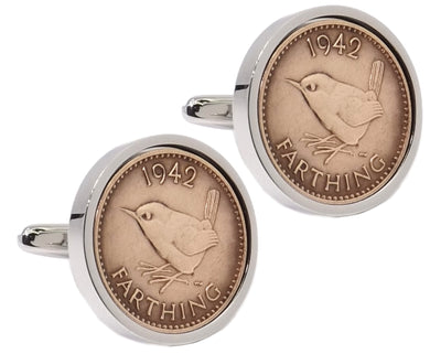 1942 Farthing Coins Set in Silver Setting Mens Gift Cuff Links by CUFFLINKS DIRECT
