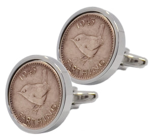 1943 Farthing Coins Set in Silver Setting Mens  Gift Cuff Links by CUFFLINKS DIRECT