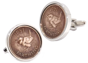 1951 Farthing Coins Set in Silver Setting Mens Gift Cuff Links by CUFFLINKS DIRECT