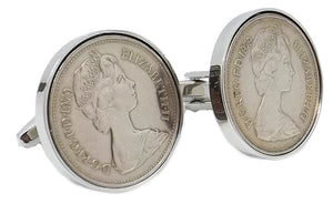 1979 Five Pence Coins Set in Silver Setting Men 40 Years Gift cufflinks - CUFFLINKS DIRECT
