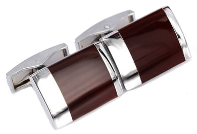 Mahogany Red Enamel & Silver Mens Gift Office Cuff Links by CUFFLINKS DIRECT