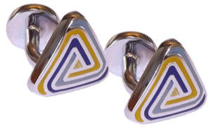 Mens Aqua Yellow & Blue Enamel Triangle Gift Cuff Links by CUFFLINKS DIRECT