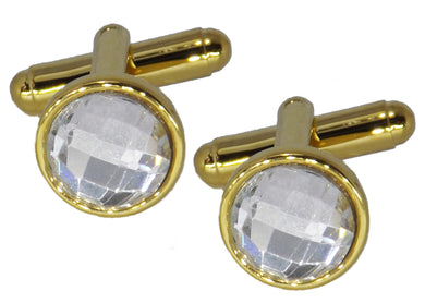 Stunning Hand Crafted Small Clear Crystal and Gold Plate Cuff links by CUFFLINKS DIRECT