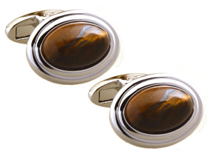 High Quality Natural Tiger Eye Stone Inlay Oval Cuff links by CUFFLINKS DIRECT
