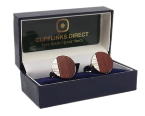Luxury Round Red wood & Silver Mens Wedding Gift Cuff links  by CUFFLINKS DIRECT