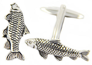 3D Silver Carp Fishing Fisherman Angler Cufflinks by CUFFLINKS DIRECT