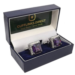 Amethyst Purple Swarovski Crystal Gem Mens Gift Cuff links by CUFFLINKS DIRECT