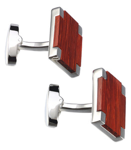 Beautiful Contemporary Rose wood and Platinum Plated Cuff links CUFFLINKS.DIRECT
