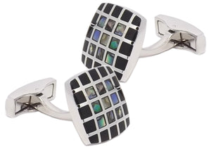 Abalone Shell & Black Onyx Checked Square Mens Wedding Gift by CUFFLINKS DIRECT