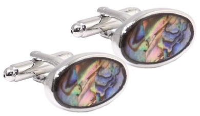 Abalone Pāua Pearl Shell Oval Mens Wedding Gift Cuff links by CUFFLINKS DIRECT