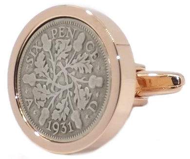 1931 Sixpence Coins Set in a Rose Gold Plate Setting Mens Gift by CUFFLINKS DIRECT