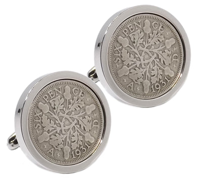 1931 Sixpence Coins Set in Silver Setting Mens Gift by CUFFLINKS DIRECT