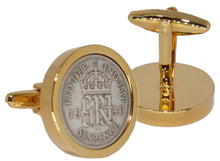 1940 Sixpence Coins Set in a 9ct Gold Plate Setting Mens Gift by CUFFLINKS DIRECT