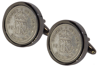 1940 Sixpence Coins Set in a Gun Metal Setting Mens Gift by CUFFLINKS DIRECT