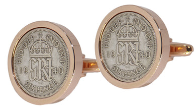1940 Sixpence Coins Set in a Rose Gold Plate Setting Mens Gift by CUFFLINKS DIRECT