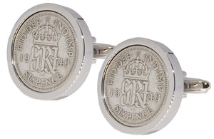 1940 Sixpence Coins Set in Silver Setting Mens Gift by CUFFLINKS DIRECT