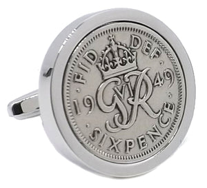 1949 Sixpence Coins Hand Set in a Silver plate Setting Mens Gift Cuff Links by CUFFLINKS DIRECT