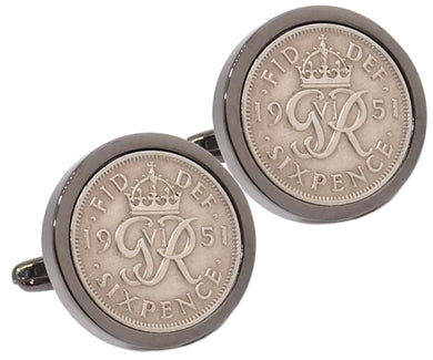 1951 Sixpence Coins Hand Set in a Gun Metal plate Setting Mens Gift Cuff Links by CUFFLINKS DIRECT
