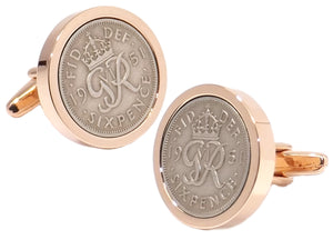 1951 Sixpence Coins Hand Set in a Rose Gold plate Setting Mens Gift Cuff Links by CUFFLINKS DIRECT
