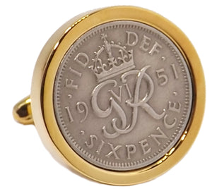1951 Sixpence Coins Hand Set in a 9ct Gold plate Setting Mens Gift Cuff Links by CUFFLINKS DIRECT