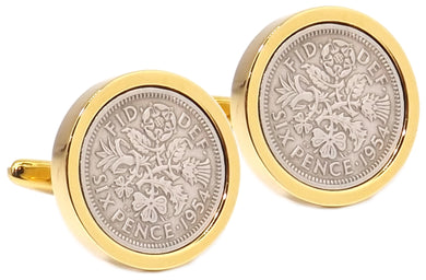 1954 Sixpence Coins Hand Set in a 9ct Gold plate Setting Mens Gift Cuff Links by CUFFLINKS DIRECT