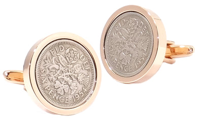 1954 Sixpence Coins Hand Set in a Rose Gold plate Setting Mens Gift Cuff Links by CUFFLINKS DIRECT