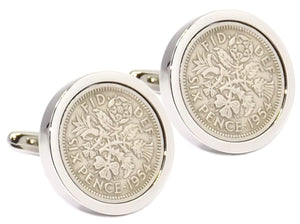 1954 Sixpence Coins Set in a Silver plate Mens 64 Years Cuff Links
