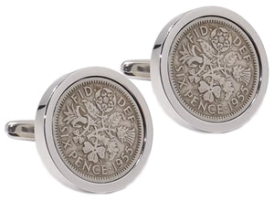1955 Sixpence Coins Hand Set in a Silver plate Setting Mens Gift Cuff Links by CUFFLINKS DIRECT