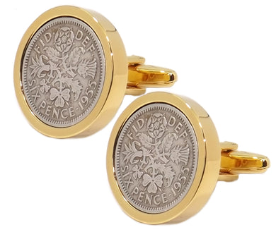 1955 Sixpence Coins Hand Set in a 9ct Gold plate Setting Mens Gift Cuff Links by CUFFLINKS DIRECT