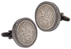 1955 Sixpence Coins Hand Set in a Gun Metal plate Setting Mens Gift Cuff Links by CUFFLINKS DIRECT